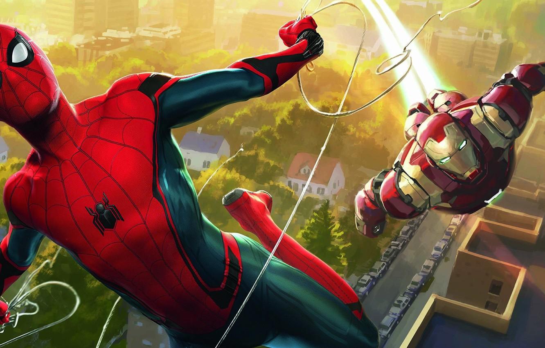 Photo wallpaper cinema, spider, armor, Iron Man, boy, Marvel, movie, Spider-man, hero, film, mask, suit, Tony Stark, …
