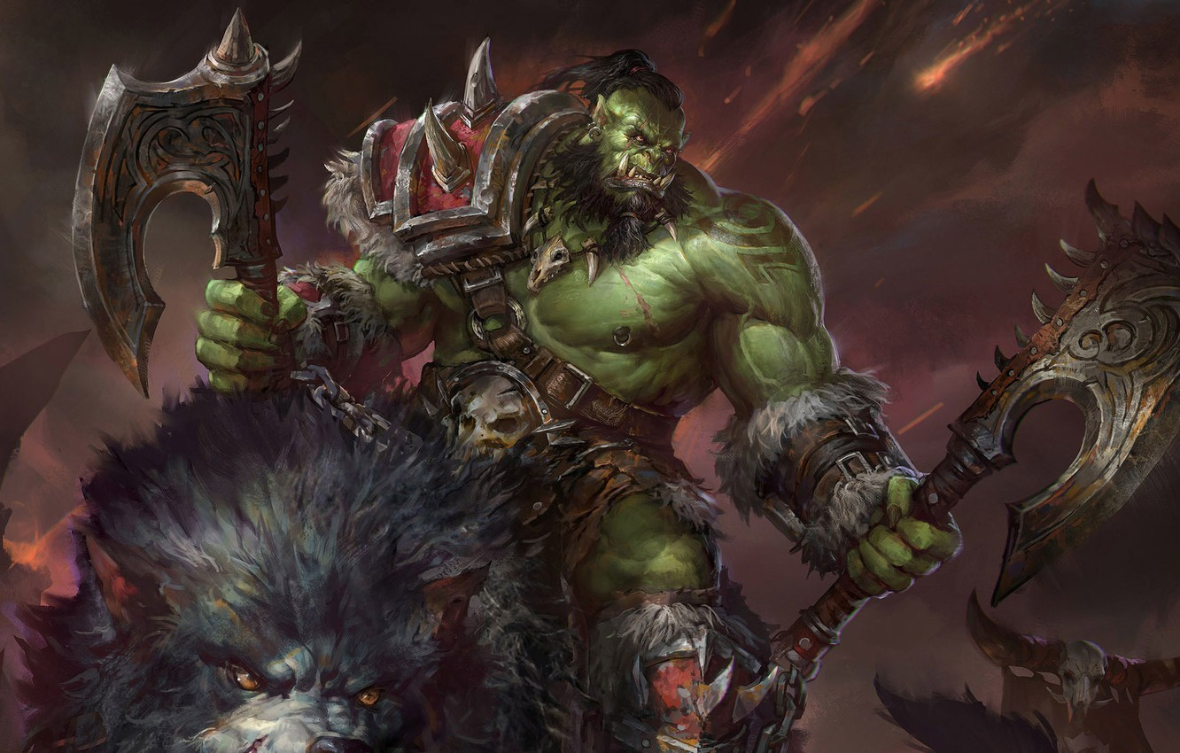 Photo wallpaper WoW, Orc, world of warcraft, MMORPG, Blizzard Entertainment, orc, Grommash Hellscream, jeremy chong