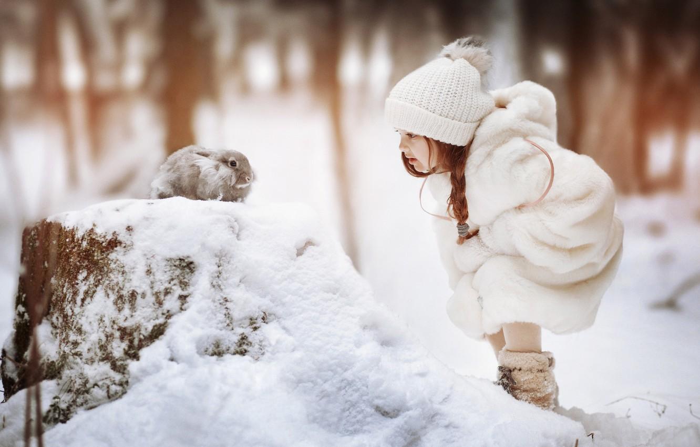 Photo wallpaper winter, snow, hat, rabbit, girl, pigtail, coat