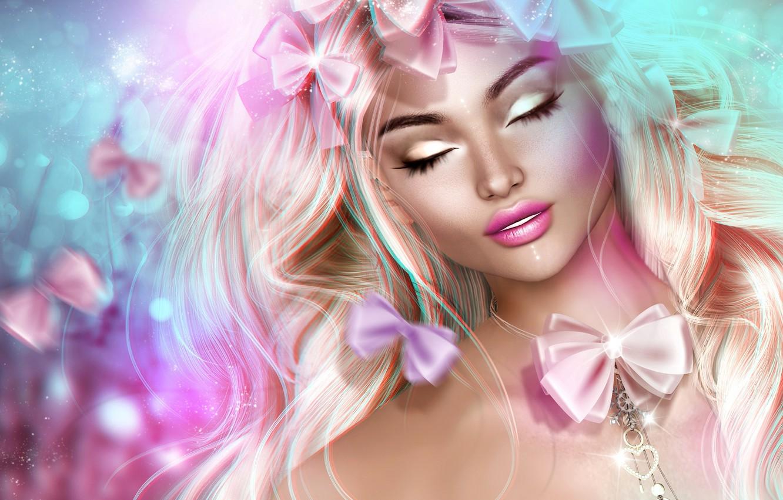 Photo wallpaper girl, face, hair, bows