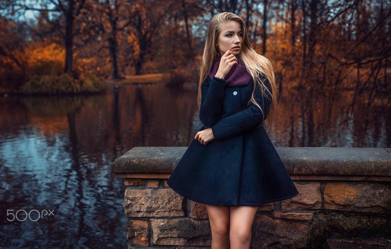 Photo wallpaper autumn, girl, lake, pond, Park, coat