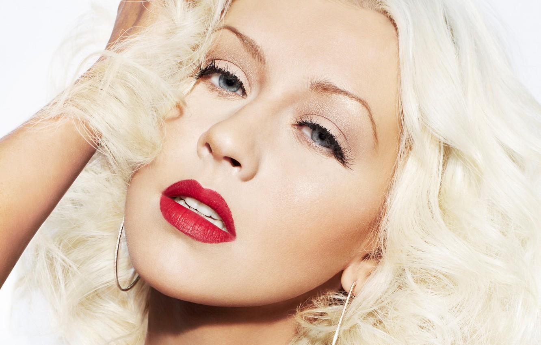 Photo wallpaper blonde, singer, Christina Aguilera, red lipstick