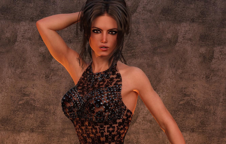Photo wallpaper girl, pose, brown hair