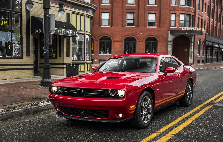 Photo wallpaper road, red, street, Dodge, Challenger, Dodge, Challenger