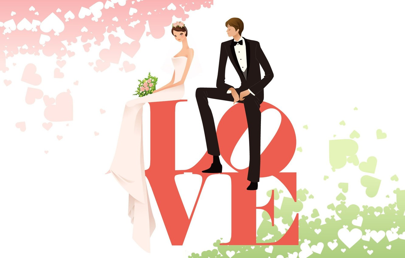 Photo wallpaper love, vector, spring, art, pair, two, wedding, the word