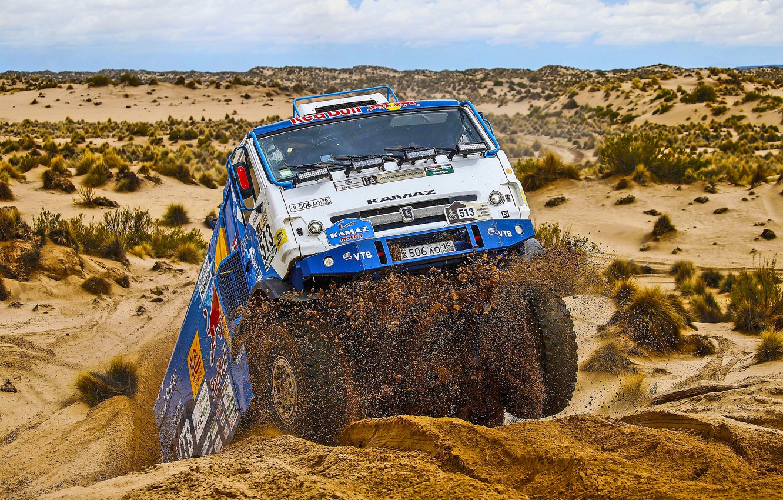 Photo wallpaper Sand, Desert, Race, Master, Kamaz, Dakar, Dakar, Rally, KAMAZ, The front, Master