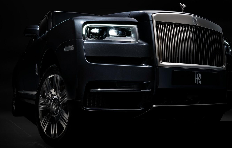 Photo wallpaper headlight, Rolls-Royce, front view, 2018, Cullinan
