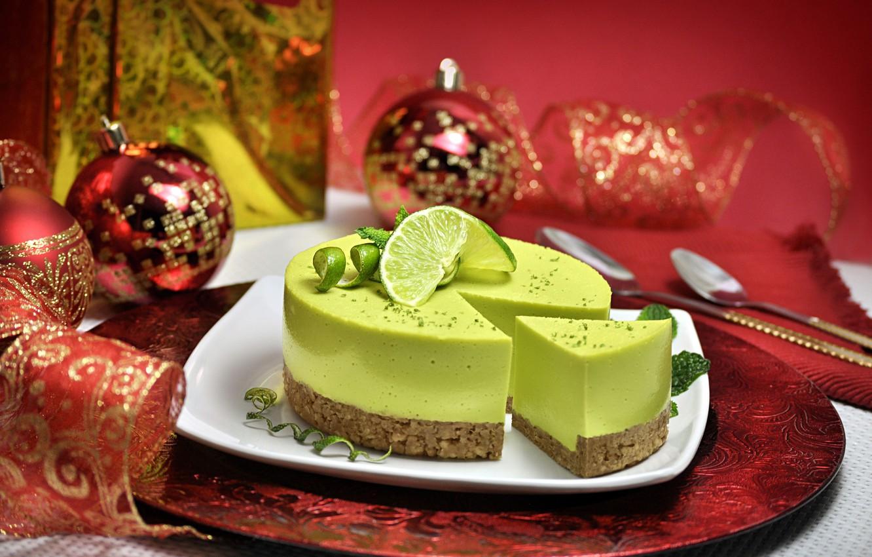 Photo wallpaper balls, balls, plate, Christmas, cake, New year, lime