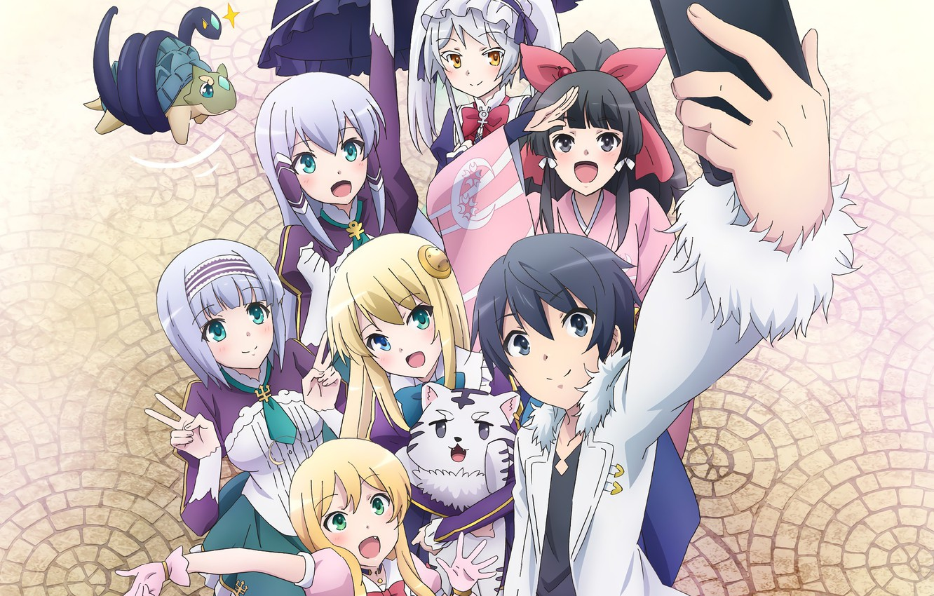 Photo wallpaper girl, anime, boy, friends, japanese, smartphone, mahou, In Another World With My Smartphone, Isekai wa …