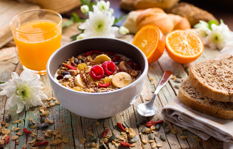 Photo wallpaper berries, Breakfast, juice, banana, wood, muesli, yogurt, orange