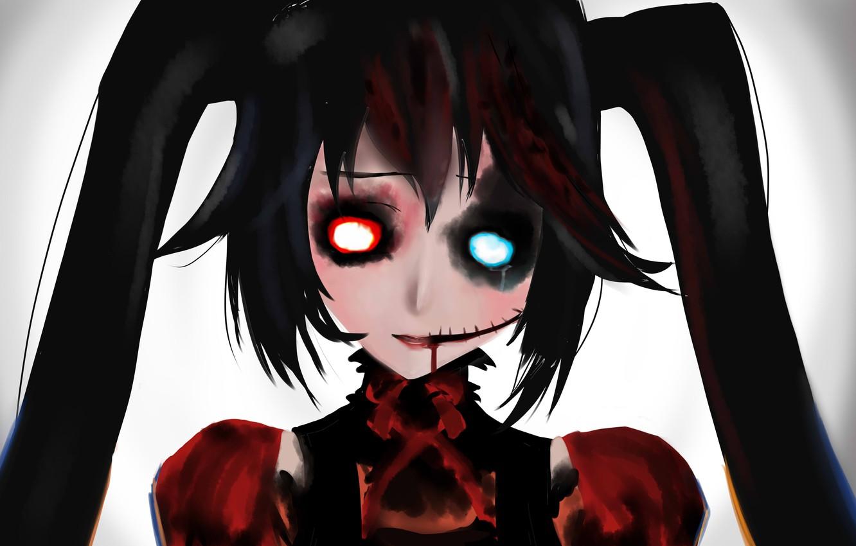 Photo wallpaper girl, Gothic, blood, Hatsune Miku, Vocaloid