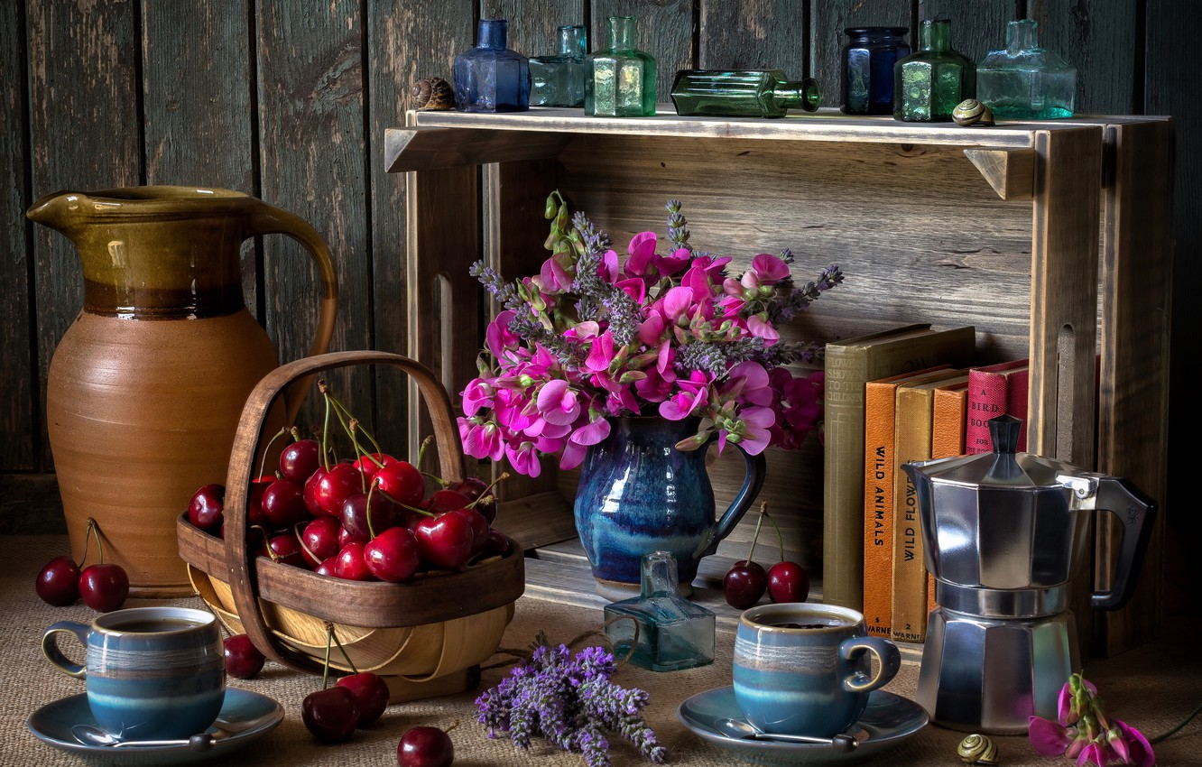 Photo wallpaper flowers, bubbles, style, berries, books, coffee, Cup, shelf, mugs, pitcher, still life, basket, cherry, a …