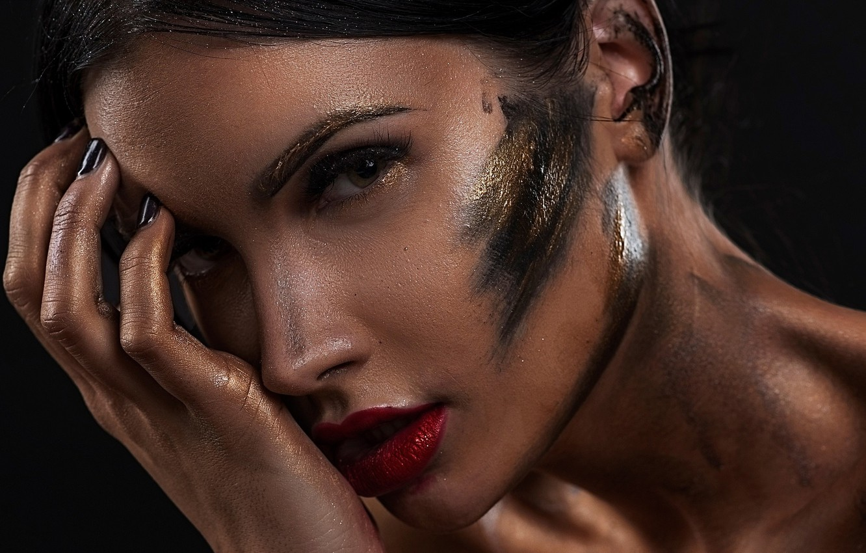 Photo wallpaper look, face, style, model, hand, makeup, dirt