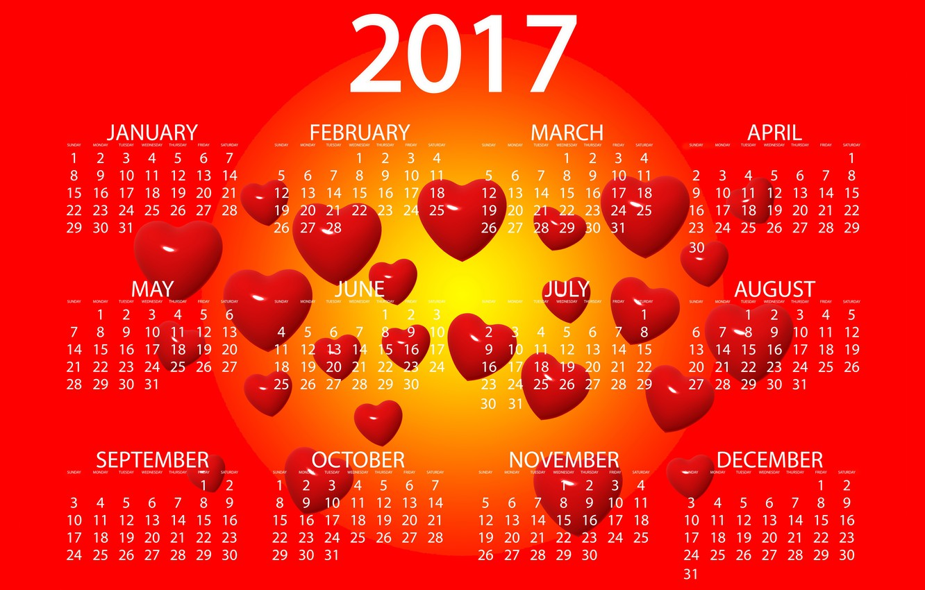 Photo wallpaper yellow, red, design, background, graphics, new year, vector, heart, figures, hearts, bright, calendar, year, date, …