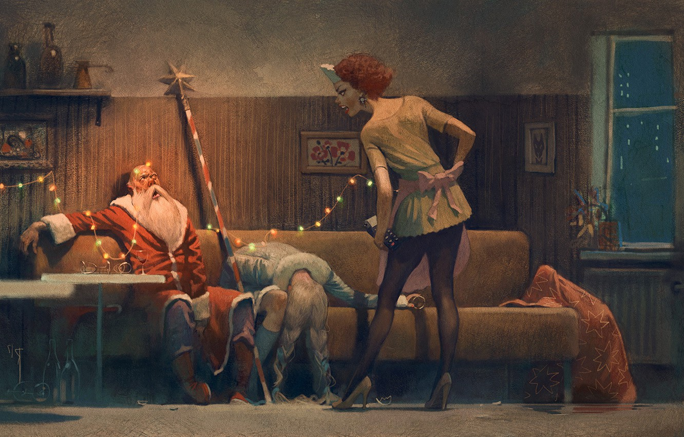 Photo wallpaper new year, Christmas, maiden, Santa Claus, booze, drunk, happy new year, merry christmas, after party