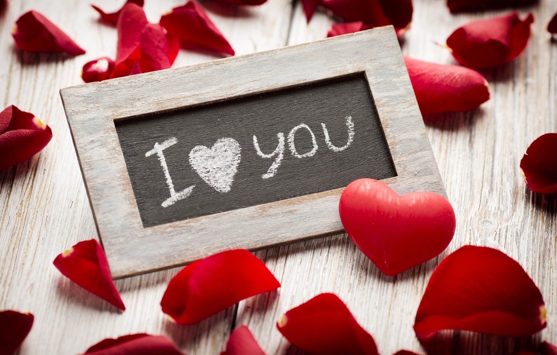 Photo wallpaper love, heart, roses, petals, red, love, rose, I love you, heart, romantic, petals