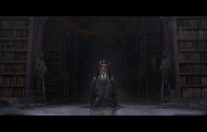 Photo wallpaper girl, weapons, books, sword, candles, anime, art, warriors, veil, the throne, halo, skeletons, novelance
