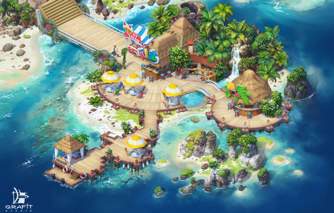 Photo wallpaper sea, island, structure, island, Tropical Forest