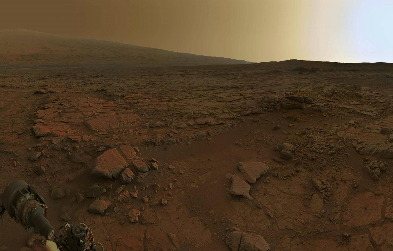 Photo wallpaper Mars, the Rover, dawn on Mars
