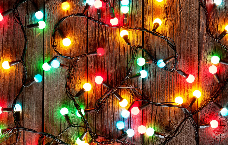 Photo wallpaper New Year, Christmas, christmas, garland, light bulb, merry christmas, decoration, xmas