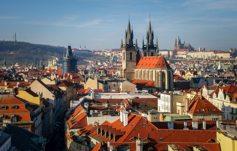 Photo wallpaper the sky, city, the city, photo, street, view, home, Prague, Czech Republic, beautiful, architecture, journey, …