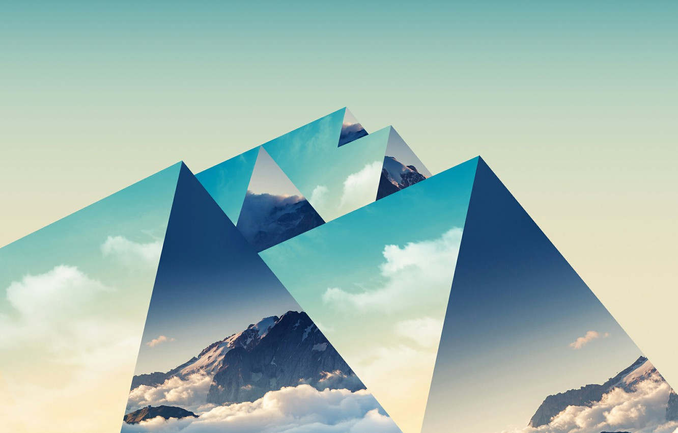 Photo wallpaper mountains, background, triangles