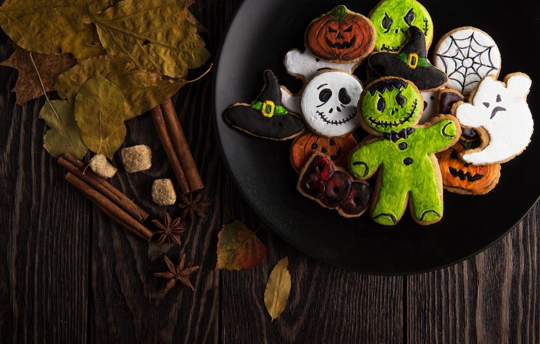 Photo wallpaper Halloween, ghost, monster, hat, wood, food, leaves, sweets, pumpkin, biscuit, wooden table