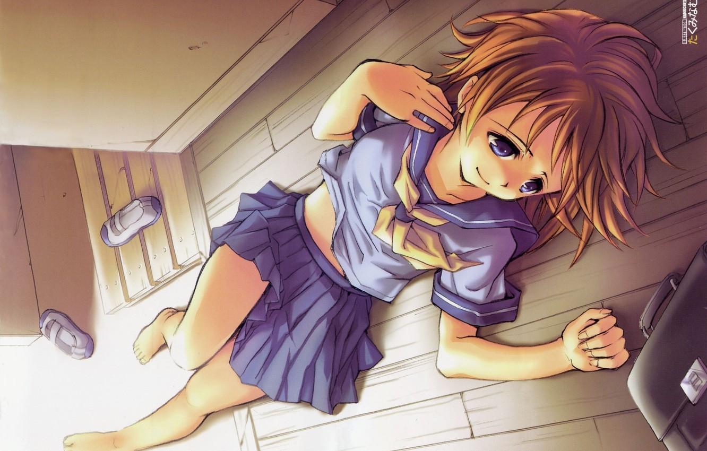 Photo wallpaper barefoot, schoolgirl, blue eyes, portfolio, when the cicadas cry, lying on the floor, sailor, Rena …