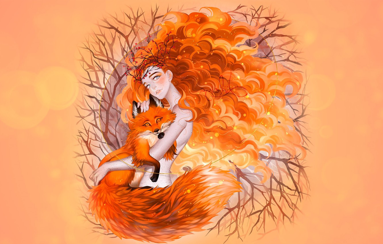 Photo wallpaper autumn, girl, Fox, redhead autumn, luleiya, Fox Spirit