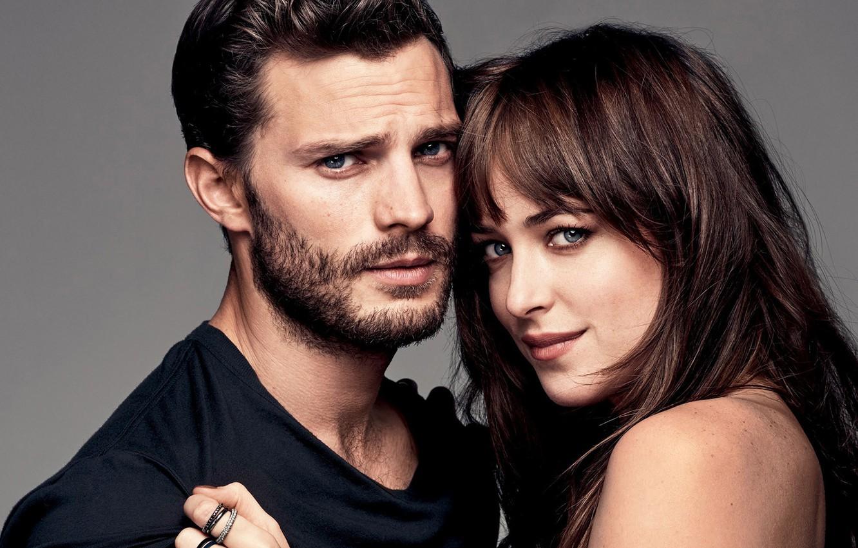 Photo wallpaper look, girl, love, hugs, pair, male, feeling, Dakota Johnson, Jamie Dornan, Fifty Shades of Grey, …