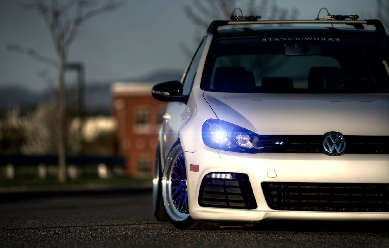 Photo wallpaper car, machine, auto, volkswagen, car, turbo, white, car, cars, auto, golf, tuning, germany, low, stance, …