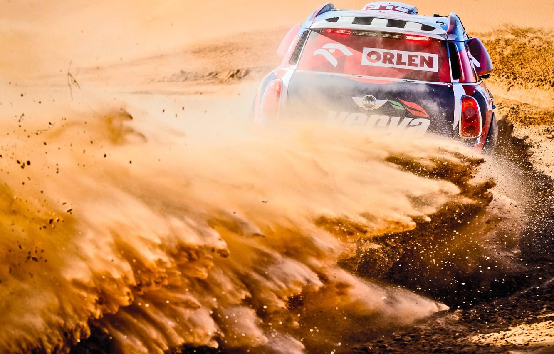 Photo wallpaper Sand, Mini, Dust, Sport, Desert, Speed, Turn, Race, Skid, Heat, Rally, Rally, Dune, Raid, MINI ...