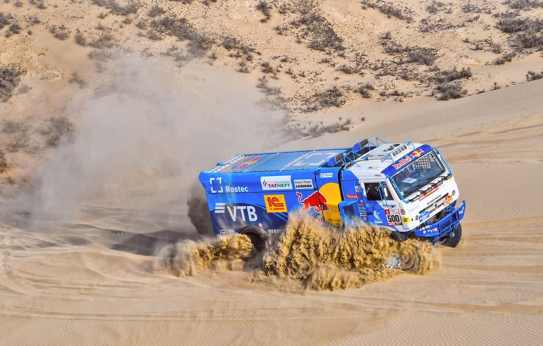 Photo wallpaper Sand, Smoke, Truck, Race, Master, Russia, 500, Kamaz, Rally, Dakar, Dakar, Rally, KAMAZ, The roads, …