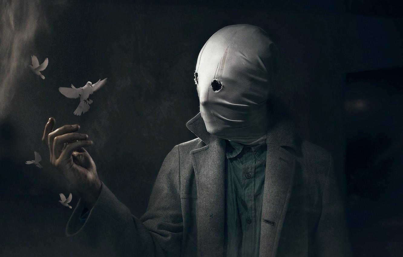 Photo wallpaper people, mask, pigeons