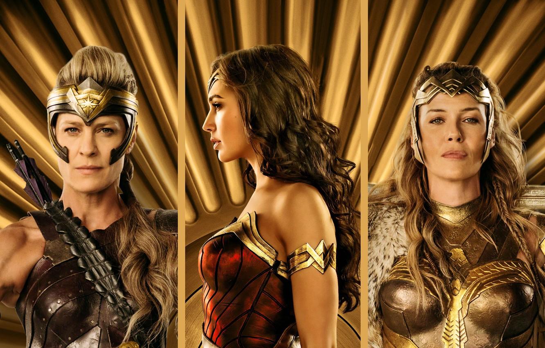 Photo wallpaper cinema, Wonder Woman, armor, movie, brunette, blonde, queen, film, warrior, DC Comics, Diana, arrow, strong, …