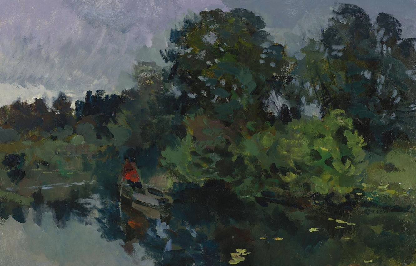 Photo wallpaper trees, landscape, boat, picture, Konstantin Korovin, On the lake with lilies