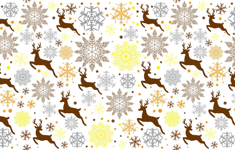 Photo wallpaper snowflakes, animal, deer
