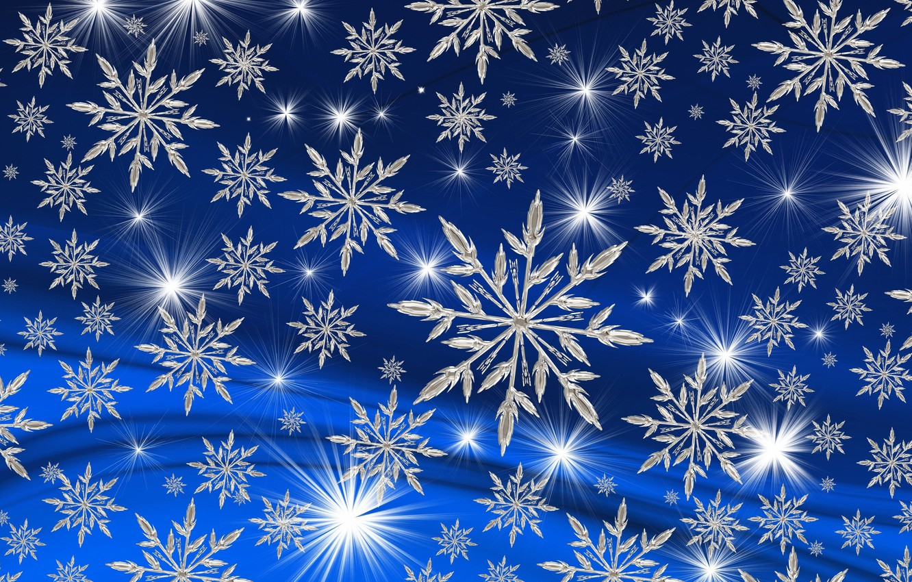 Photo wallpaper blue, Background, snowflakes.