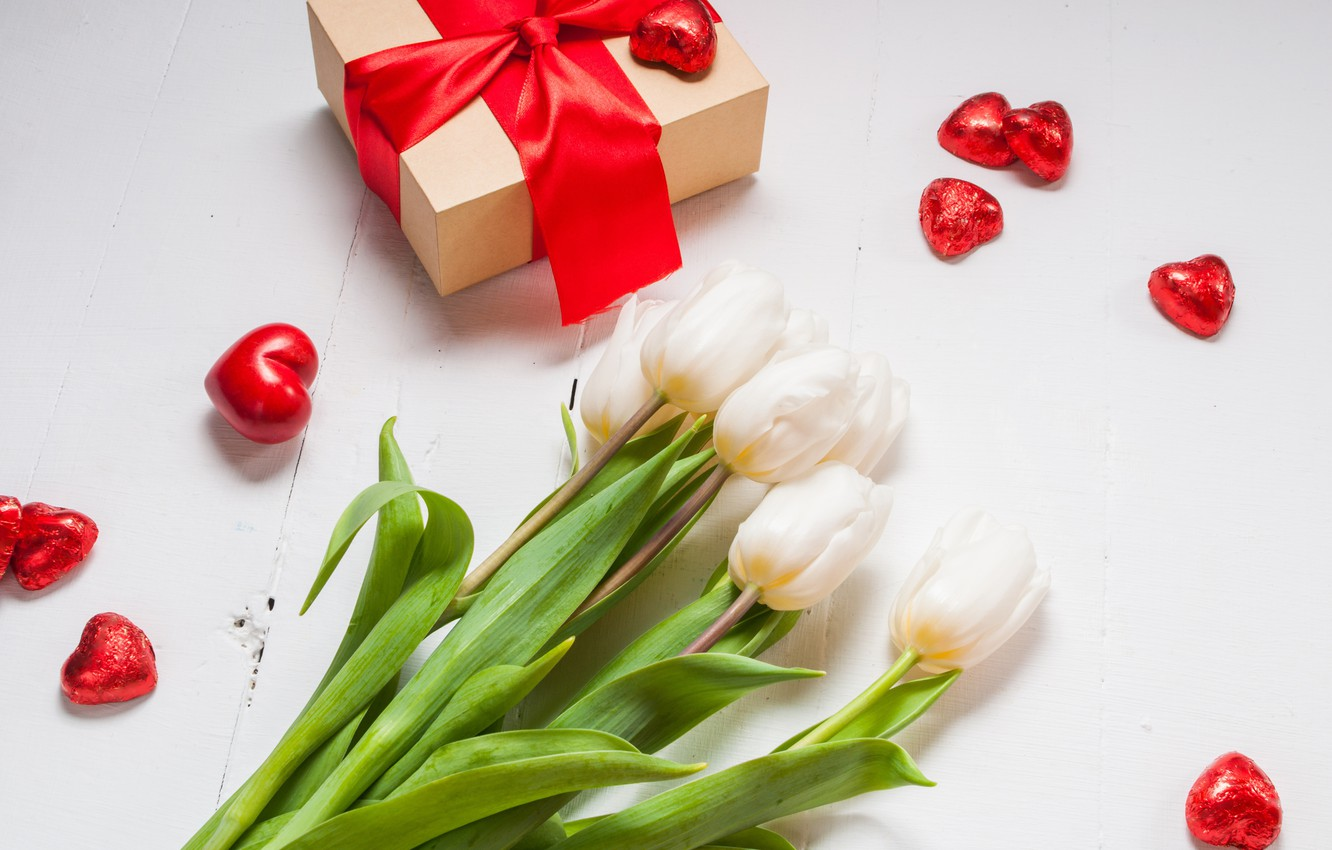 Photo wallpaper bouquet, hearts, tulips, love, bow, fresh, flowers, romantic, hearts, tulips, Valentine's Day, gift