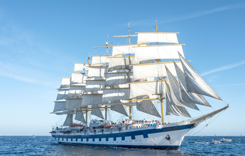 Photo wallpaper sea, France, sailboat, sails, boats, France, The Mediterranean sea, Royal Clipper, Mediterranean Sea, Saint-Tropez, Saint-Tropez