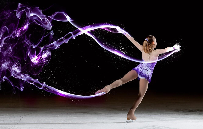Photo wallpaper ice, girl, abstraction, skates