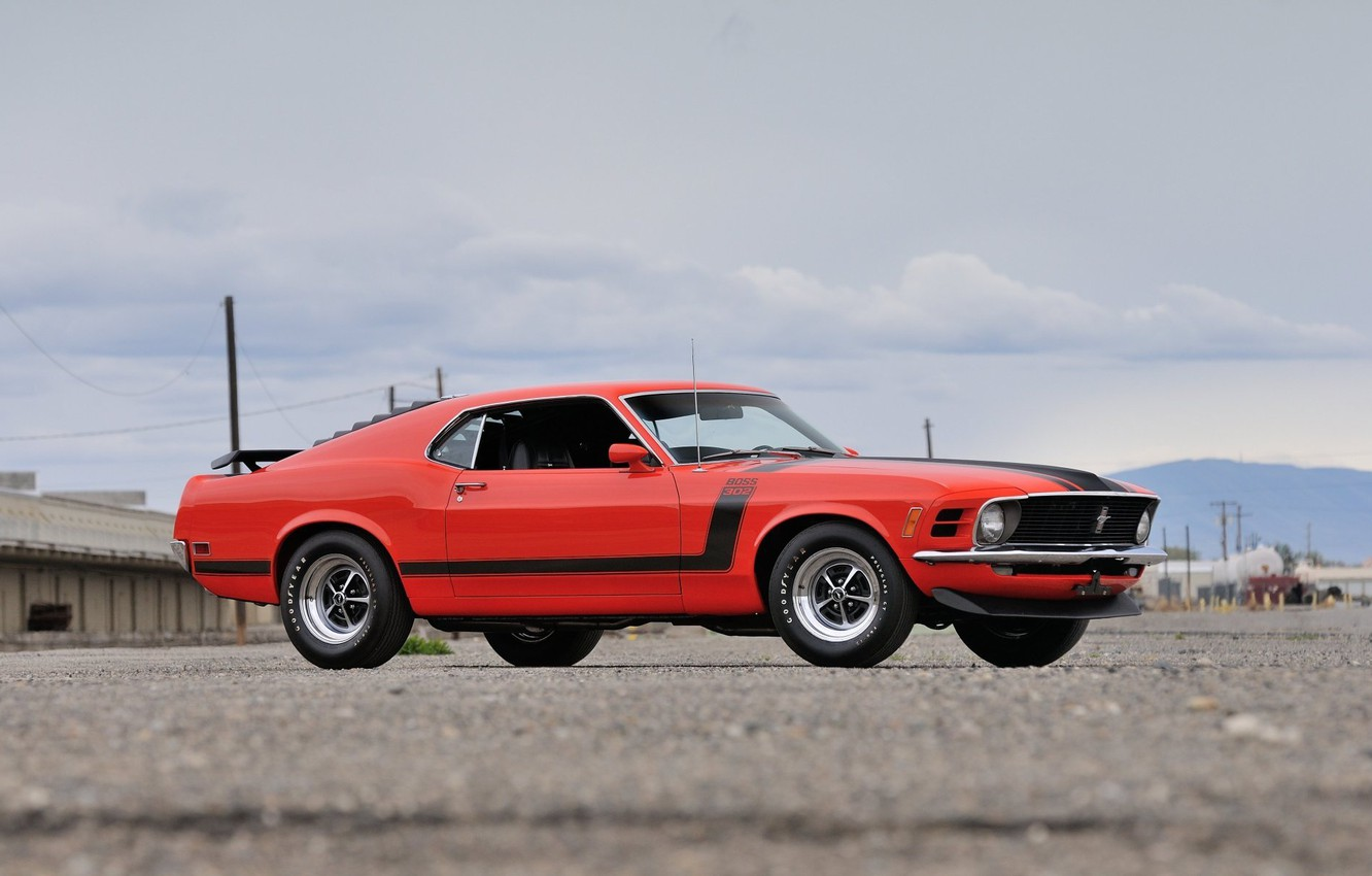 Photo wallpaper Boss 302, Ford Mustang, 1970, Fastback, muscle classic