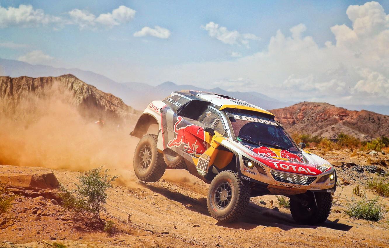 Photo wallpaper Sand, Auto, Dust, Sport, Machine, Speed, Race, Peugeot, Red Bull, 300, Rally, Dakar, Dakar, SUV, …