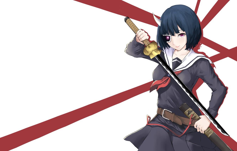 Photo wallpaper sword, purple eyes, katana, ken, blade, mask, martial artist, bishojo, seifuku, horn, Armed Girl's Machiavellism, …