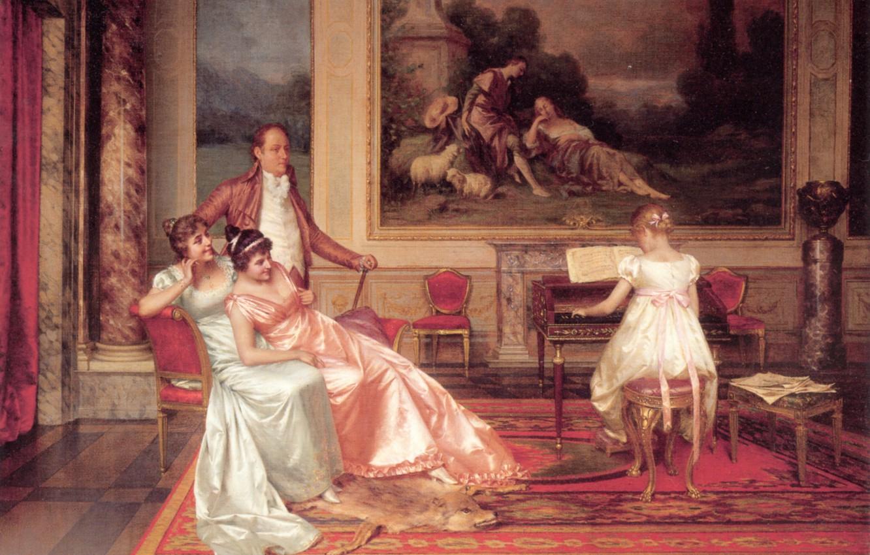 Photo wallpaper Vittorio Reggianini, cute life, The Piano Recital, elegant interior, an everyday scene of bourgeois life