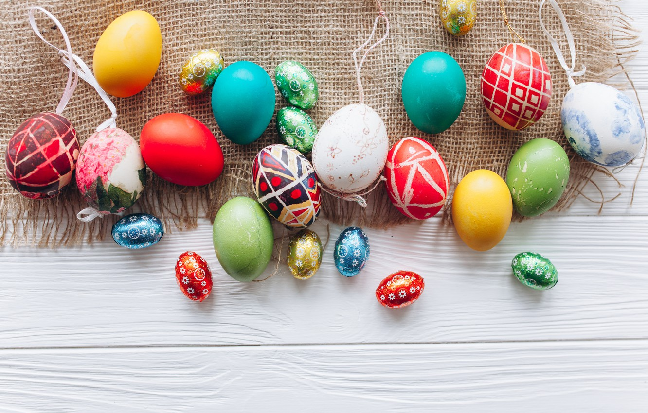 Photo wallpaper eggs, spring, colorful, Easter, wood, spring, Easter, eggs, decoration, Happy