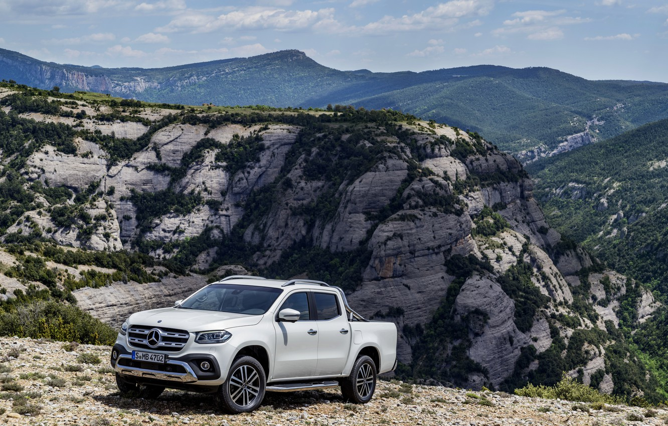 Photo wallpaper white, the sky, clouds, mountains, vegetation, Mercedes-Benz, pickup, 2017, X-Class