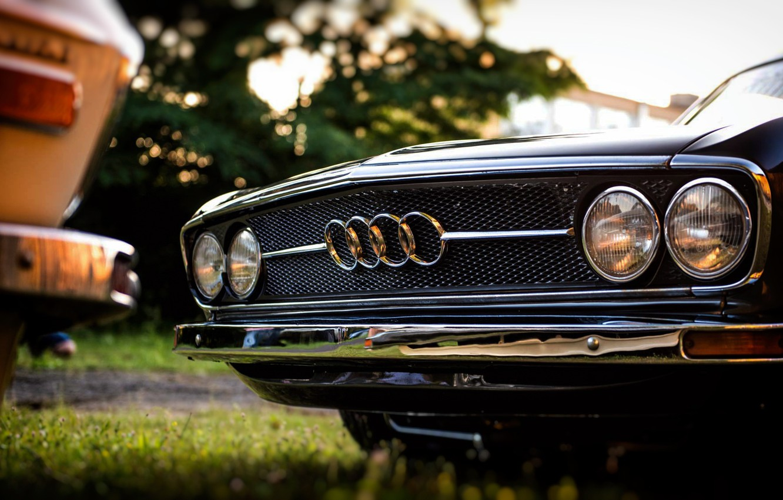 Photo wallpaper Audi, Black, Retro, Machine, Black, White, Grille, Machine, Lights, 100, Audi 100, Audi 100 C1 …