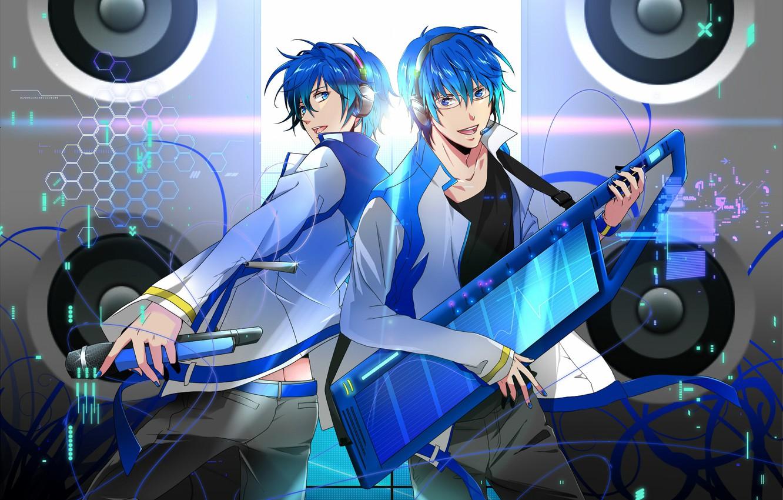 wallpaper music, headphones, guy, vocaloid, vocaloid, kaito