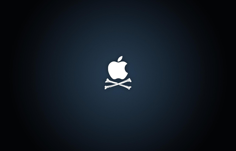 Photo wallpaper blue, background, apple, Apple, logo, bones